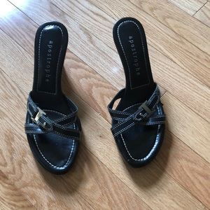 Apostrophe Black and Silver sandals. Size 7 1/2.